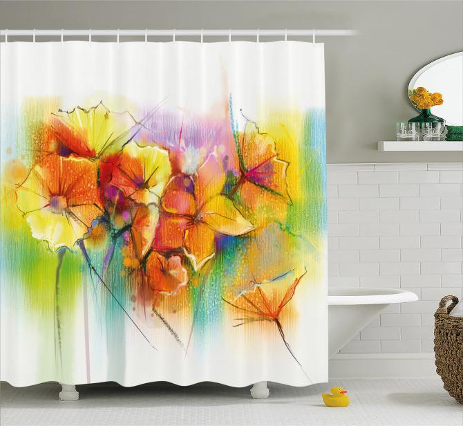 Rengarenk Duş Perdesi Bahar Çiçekleri Buketi Temalı