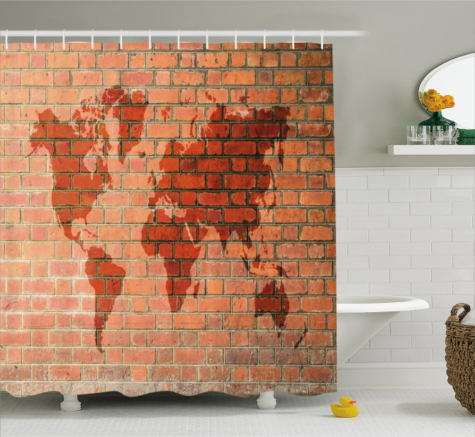 World Map On Brick Wall Shower Curtain