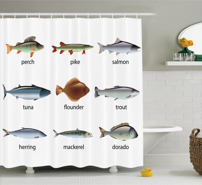 Balık Türleri Kolajlı Duş Perdesi Deniz Beyaz
