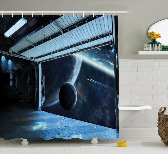 Moon Planet Scene Shower Curtain