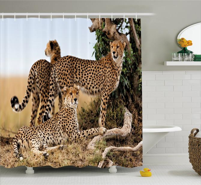 Çita Temalı Duş Perdesi Kahverengi Vahşi Yaşam Şık