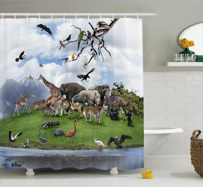 Hayvanlar Alemi ve Doğa Temalı Duş Perdesi Yeşil