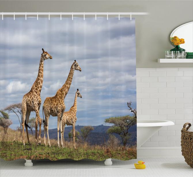 Zürafa Temalı Duş Perdesi Afrika Vahşi Yaşam Mavi