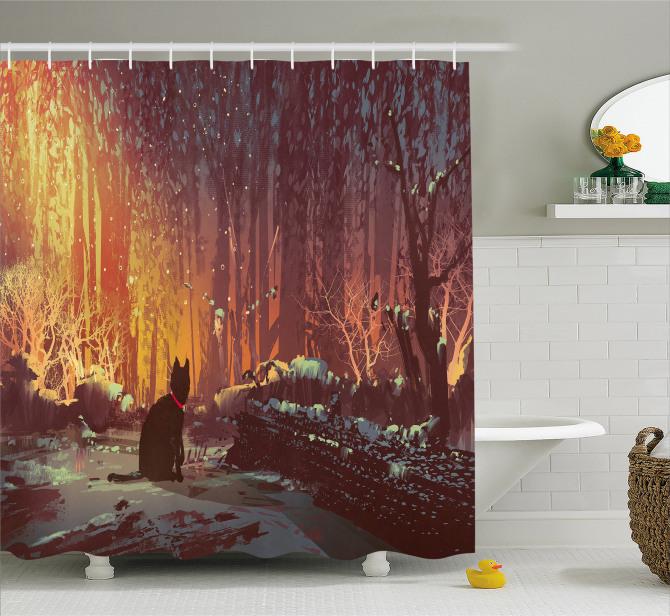 Perili Ormandaki Kedi Temalı Duş Perdesi Turuncu Şık