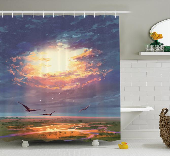 Altın Işıklı Gökyüzü Temalı Duş Perdesi Kuş Bulut