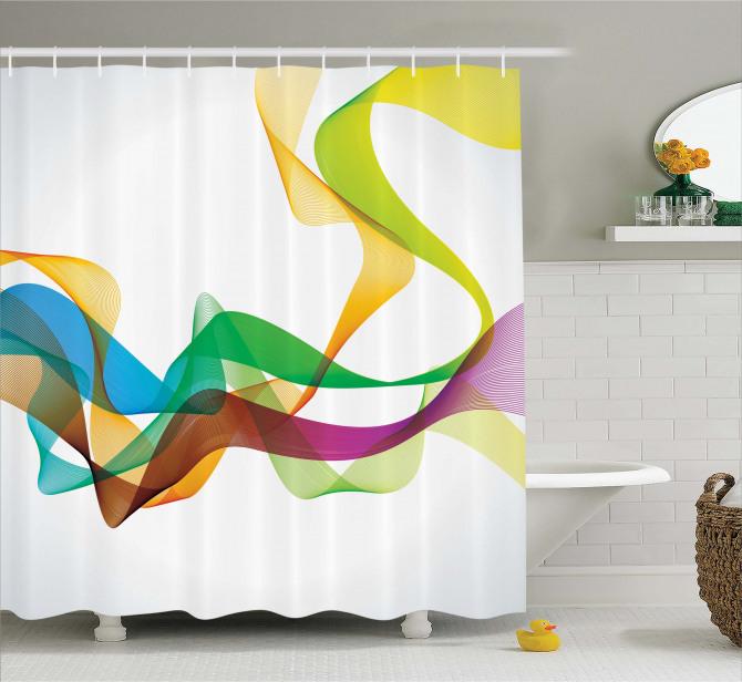 Wavy Ribbon Rainbow Shower Curtain