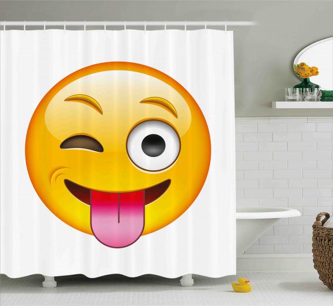 Cartoon Romantic Smiley Shower Curtain