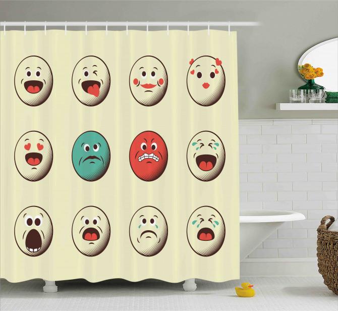 Vintage Old Face Moods Shower Curtain