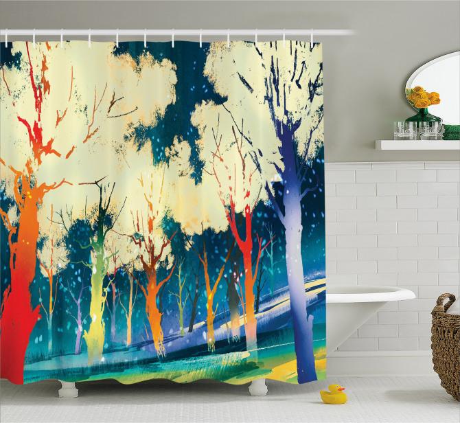Sarı Ağaçlar ve Orman Temalı Duş Perdesi Mavi Şık