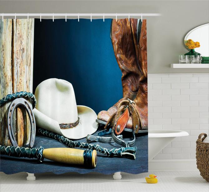 Kovboy Çizmesi ve Şapka Temalı Duş Perdesi Lacivert