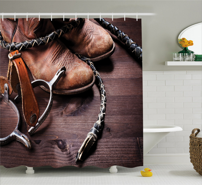 Kovboy Temalı Duş Perdesi Çizme Çiftlik Kahverengi