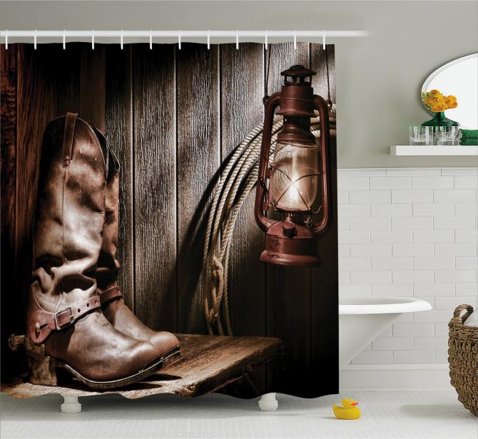 Kovboy Çizmesi ve Lamba Temalı Duş Perdesi Kahve