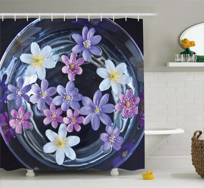 Mor Çiçek Temalı Duş Perdesi Doğa Çeyizlik Trend
