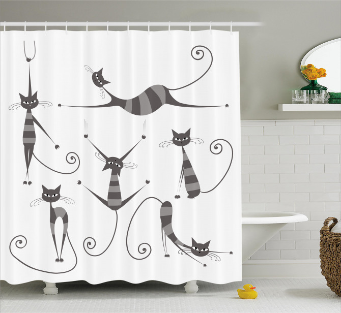 Funny Skinny Striped Cat Shower Curtain