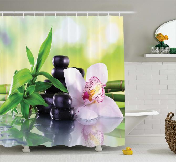 Çiçek ve Yaprak Temalı Duş Perdesi Pembe Şık Tasarım
