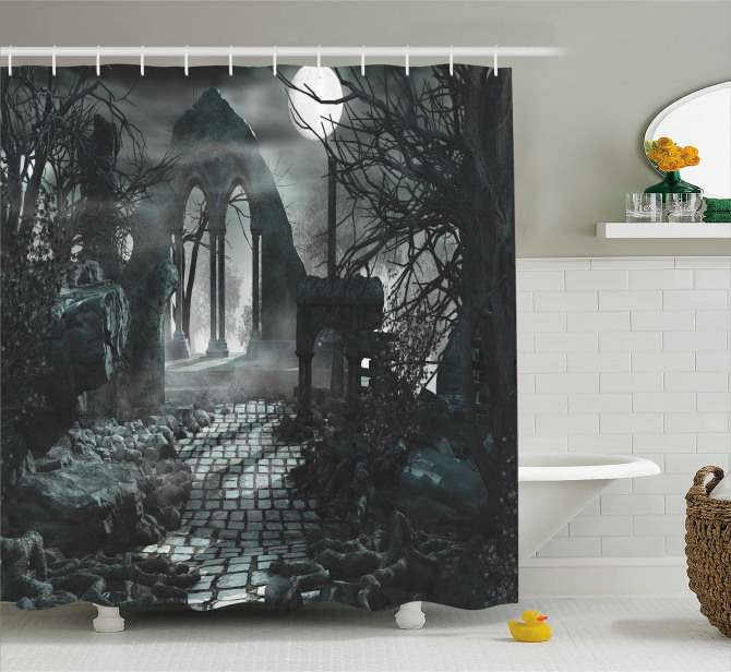 Moon View In Scary Dark Shower Curtain
