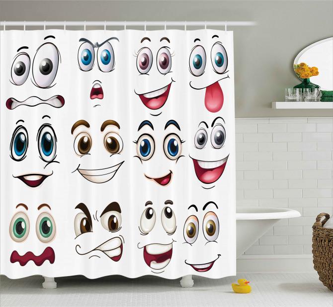 Hand Drawn Emoji Faces Shower Curtain