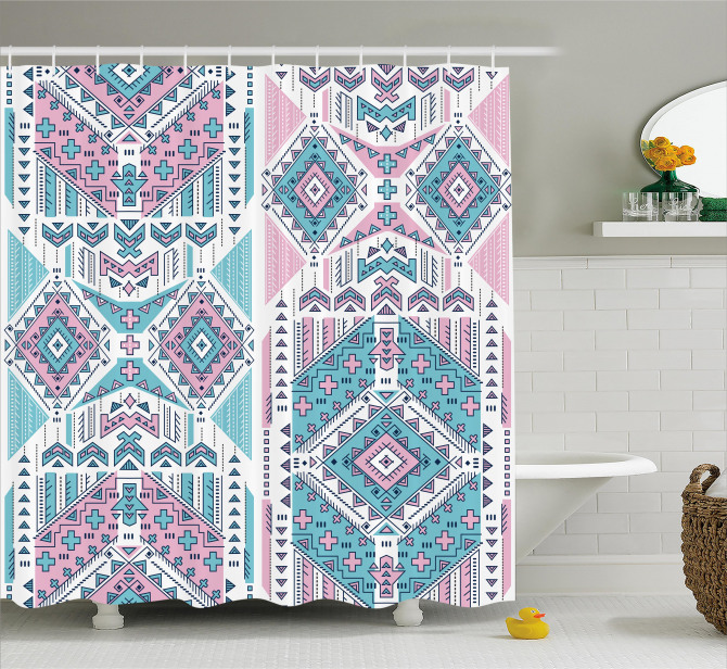 Pink Teal Aztec Shower Curtain