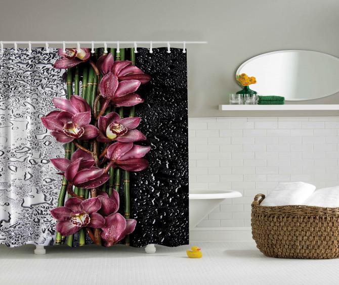 Çiçek ve Su Damlası Temalı Duş Perdesi Pembe Trend
