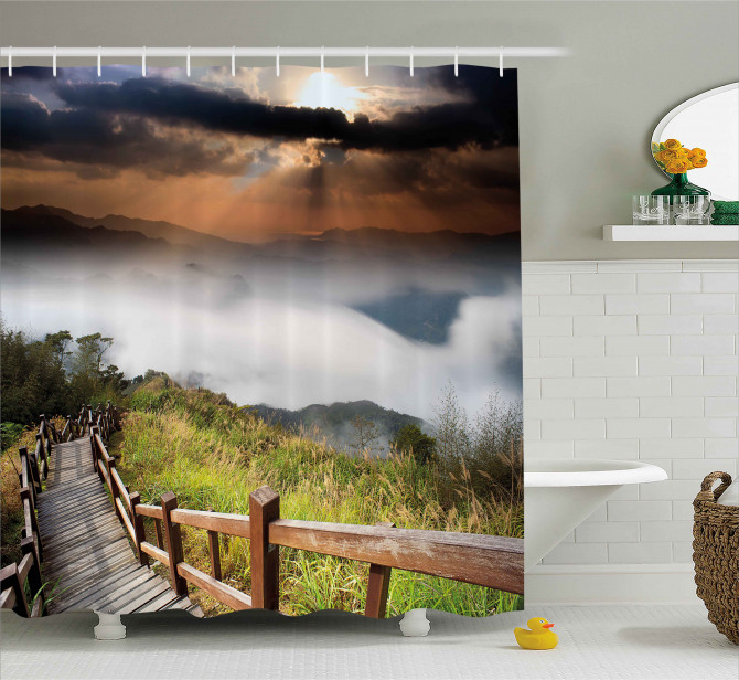 Hazy Foggy Sky Italian Shower Curtain