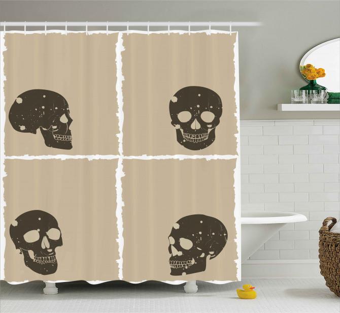 Kahverengi Kuru Kafa Desenli Duş Perdesi Dekoratif