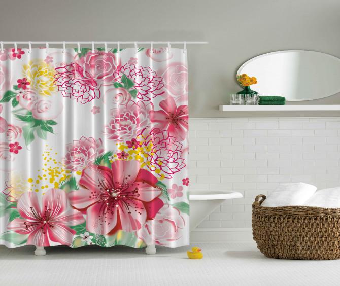 Pembe Çiçek ve Yaprak Temalı Duş Perdesi Çeyizlik