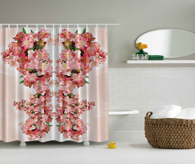Pembe Çiçek Desenli Duş Perdesi Çeyizlik Şık Tasarım