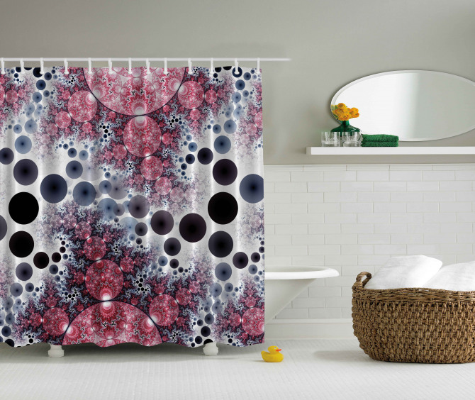Rengarenk Küre Desenli Duş Perdesi Kırmızı Siyah