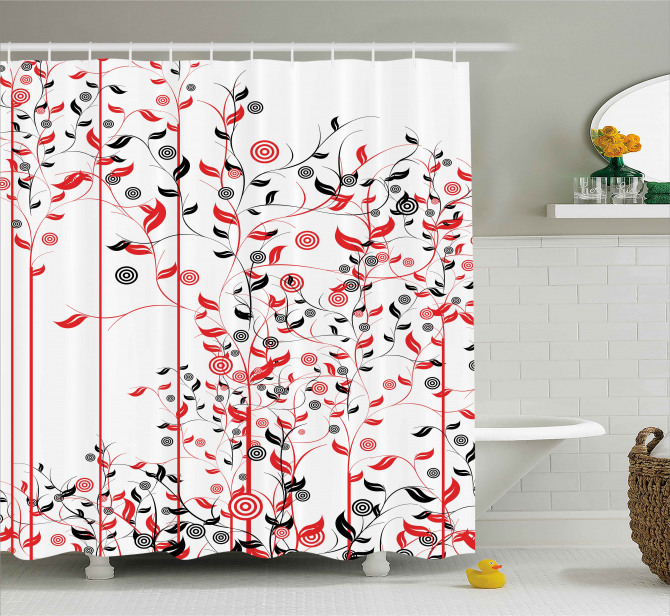 Flowers Ivy Swirl Leaves Shower Curtain