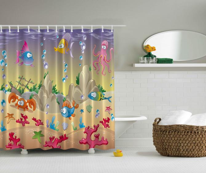 Rengarenk Balık Desenli Duş Perdesi Bej Şık Tasarım