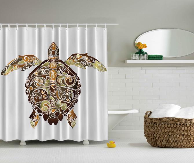 Kaplumbağa Desenli Duş Perdesi Kahverengi Yeşil Şık