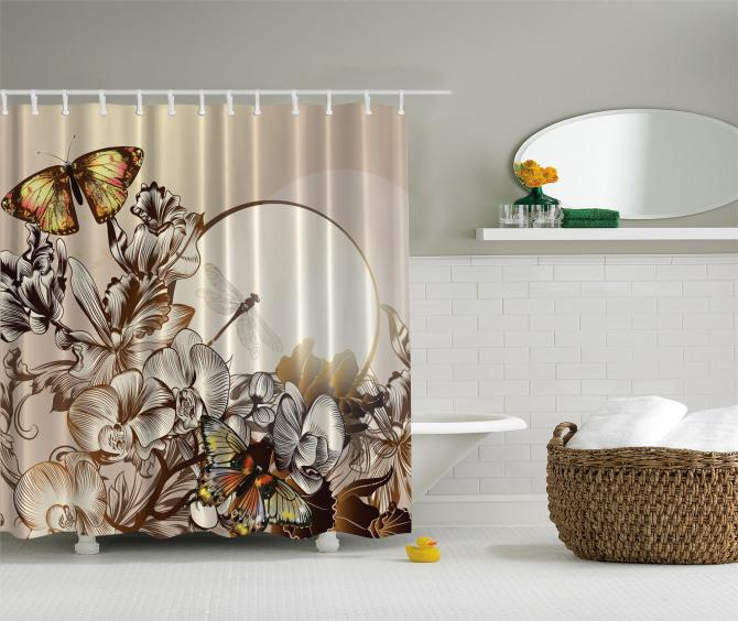 Kelebek ve Çiçek Desenli Duş Perdesi Bej Şık Tasarım