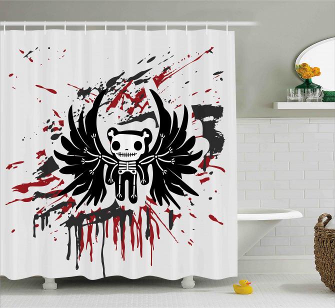 Kuru Kafa Teddy Desenli Duş Perdesi Siyah Kırmızı