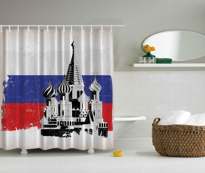 Kremlin Temalı Duş Perdesi Siyah Beyaz Şık Tasarım