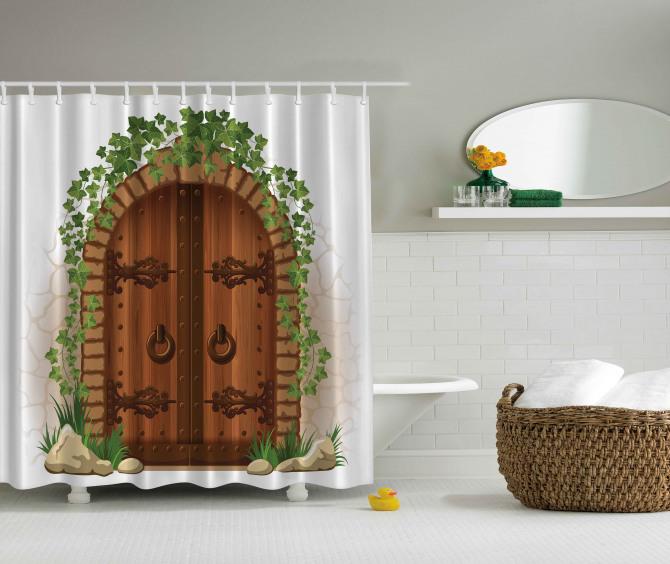 Kahverengi Kapı Temalı Duş Perdesi Yeşil Şık Tasarım