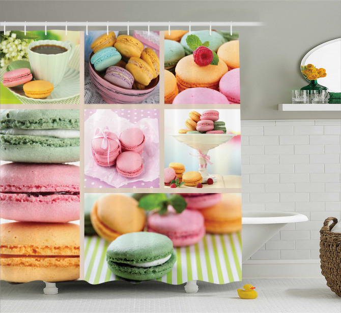 French Macaroon Coffee Shower Curtain
