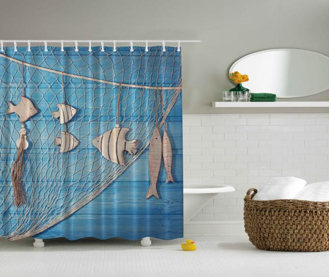 Balık ve Ağ Temalı Duş Perdesi Mavi Bej Ahşap Şık