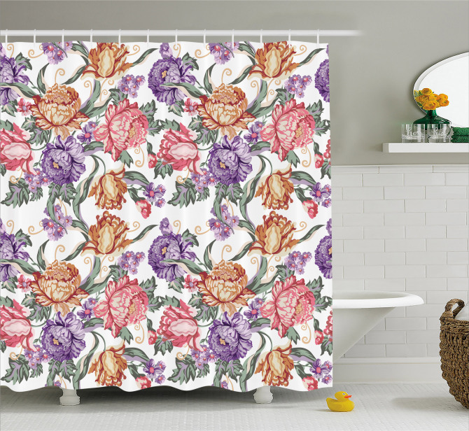 Retro Flowers and Curls Shower Curtain