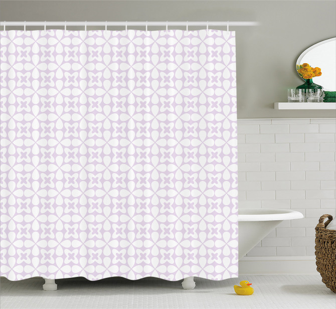 Geometric Pastel Flowers Shower Curtain