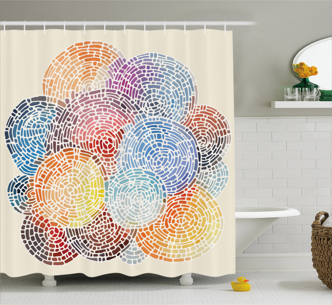 Abstract Mosaic Spots Shower Curtain