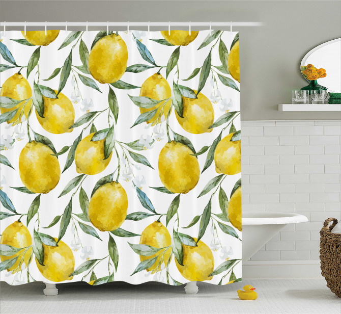 Vibrant Citrus Plants Shower Curtain
