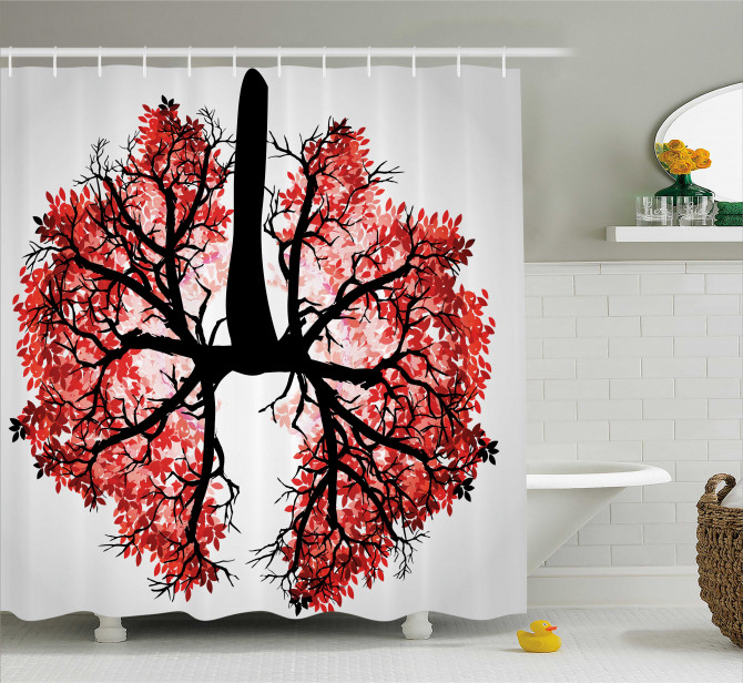 Human Lung Floral Healthy Shower Curtain