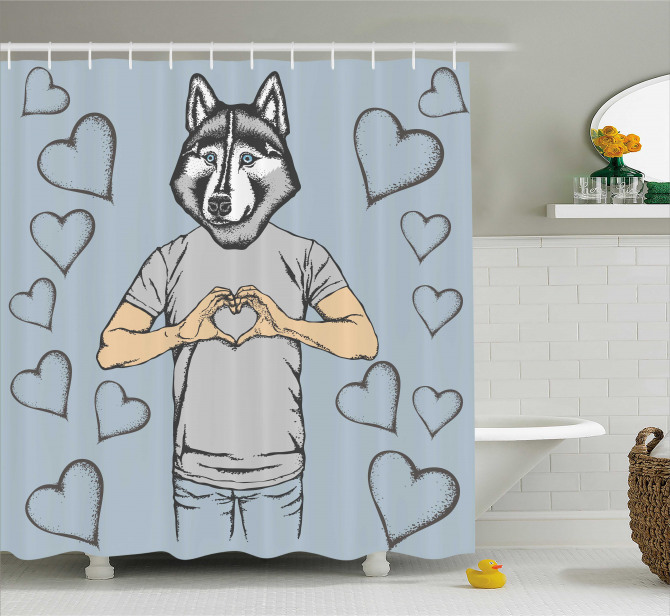 Dog Hearts Romantic Shower Curtain