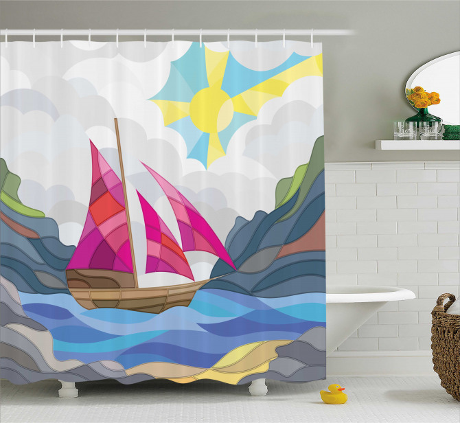 Sun Sail Boat Vitray Shower Curtain