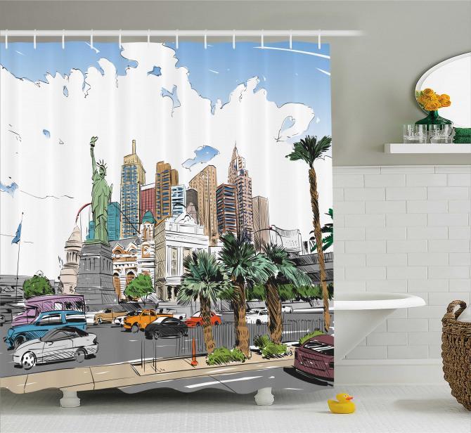 Las Vegas Street Sketchy Shower Curtain