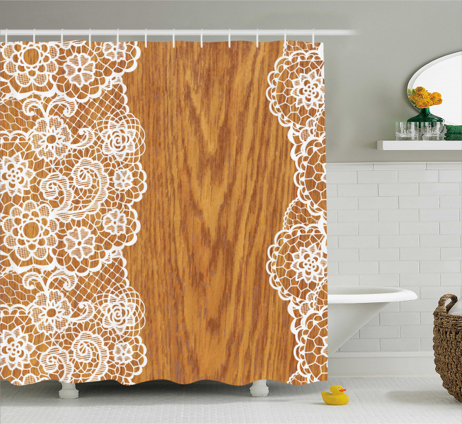 Lace Wooden Retro Shower Curtain