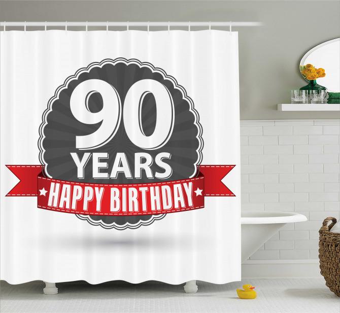 Birthday Red Ribbon Shower Curtain