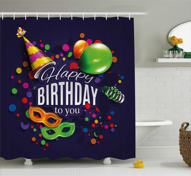 Balloons Ribbons Masks Shower Curtain