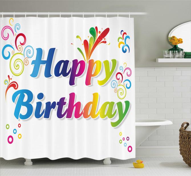 Birthday Message Artsy Shower Curtain