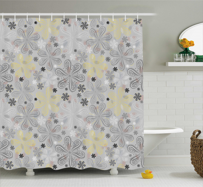 Style Yellow Flower Shower Curtain